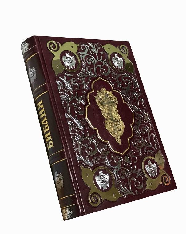 Библия в коробе с накладным крестом